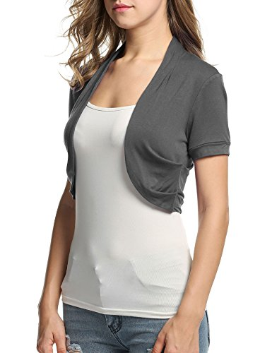 BEAUTYTALK Women Layering Bolero Shrug Jacket Crop Top Shirt(Grey,S) - Grey Shrug Top Shirt