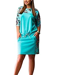 AMZ PLUS Womens Round Collar Half Sleeve Print Cotton Casual Dress