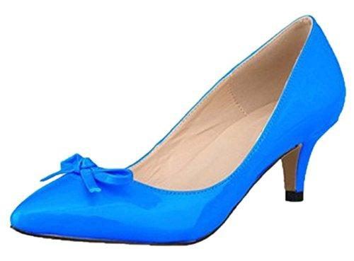 HooH Women's Pointed Toe Sweet Bowknot Kitten Pumps-Sky Blue-39 KuWdnprtx