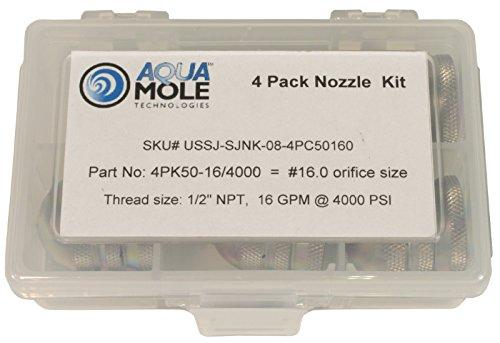 Aqua Mole Four Pack 1/2'' NPT Button Nose Sewer Jetter Nozzle 4 Piece Set 4000 PSI 16 Orifice by Aqua Mole