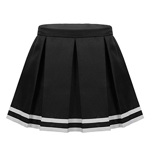 Cheerleaders Uniform Skirts - FEESHOW Child/Youth Girls Cheerleading Pleated Skirt Cheer Leader School Uniform A Line Skirt Costumes Black 7-8