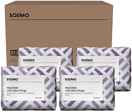 Amazon Brand - Solimo Thick Maxi Pads with Flexi-Wings for Periods, Extra Heavy Overnight Absorbency, Unscented, Size 5, 80 Count (4 packs of 20)