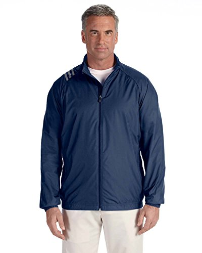 adidas A169 Mens 3-Stripes Full-Zip Jacket - Navy & White44; Large by adidas