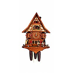 Cuckoo Clock Black Forest house with moving beer drinkers