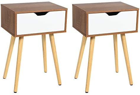 Editors' Choice: Giantex Nightstand Set of 2 W/Storage Drawer and Wooden Leg Accent Elegant Style