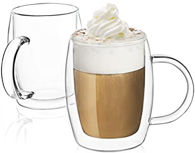 JoyJolt Double Wall Glasses 13.5-Ounce Insulated Mugs Double Walled Glass Cups For Coffee Tea Set of 2