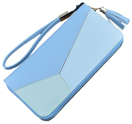 Blansdi Women Leather Wallet Long Purse Card Phone Holder Hit Color Wristlet Clutch
