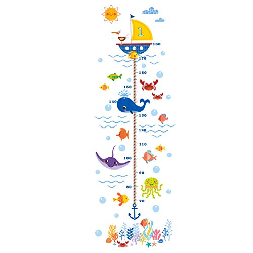 Kids Room Height Chart Ruler Wall Decals DIY Cartoon Ocean World Animal Removable Growth Measurement Rulers Nursery Home Decor for Girls & Boys Measures up to 5.6 Feet