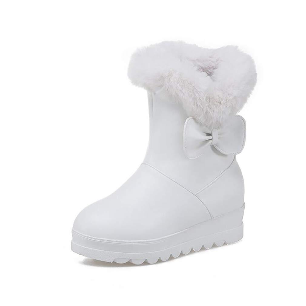Hy Frauen Schuhe Künstliche PU Dicke Untere Schneeschuhe Stiefel Damen Flache Ferse Stiefelies Große Größe Stiefelies Stiefeletten Im Freien Skifahren Schuhe (Farbe   Weiß Größe   32)