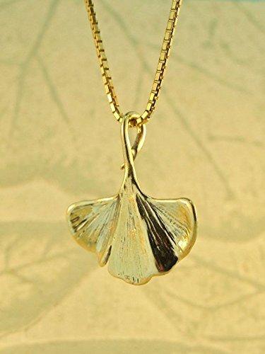 081253791 Amazon.com: Gold Leaf Necklace 14k Gold Ginkgo Leaf Charm: Handmade