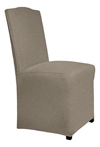 Serta 1 Piece Reversible Stretch Suede Dining/Parsons Chair Long Skirt Slipcover, Chocolate Herringbone/Chocolate Solid (Skirt Parson Chairs)