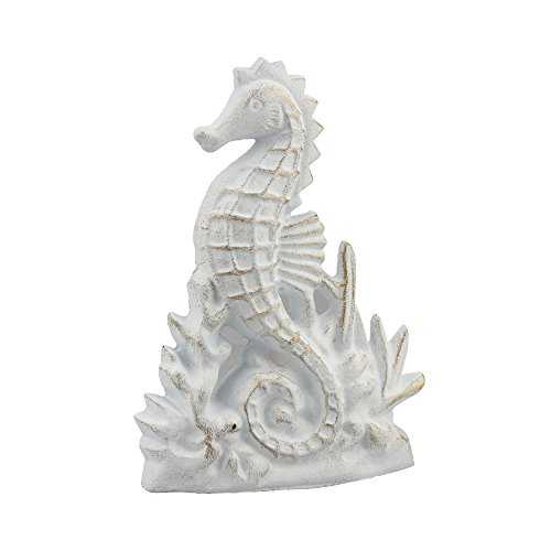 Stonebriar Beach House White and Gold Cast Iron Seahorse Door - Cast Furniture Iron Door