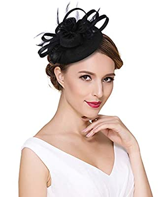 Z&X Sinamay Fascinators for Women Tea Party Pillbox Hat Feather Flower Kentucky Derby Hat with Headband Clip