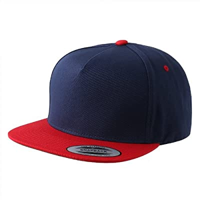 Flexfit/Yupoong 6007,6007T 5 Panel Cotton Twill Snapback Hat Cap (Navy/Red)