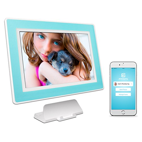 PhotoSpring (32GB) 10-Inch IPS, WiFi, Touchscreen, Battery, iPhone & Android App, Photo & Video, Digital Picture Frame (White with Sky Blue Mat) 32,000 photo capacity Review