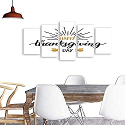 UHOO 5 Piece Wall Art Painting PrintMaple Leaves Vector Illustration with Happy Thanksgiving Day Lettering Invitation or Festive Greeting Card Template odern Decoration Living Room