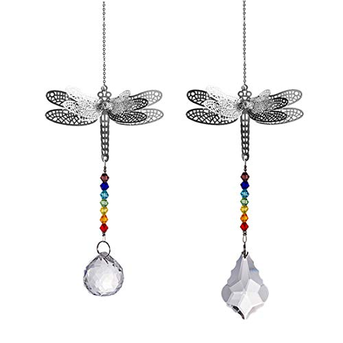 (Crystal Suncatcher Chakra Colors Beads Dragonfly Window Hanging Ornament Rainbow Suncatcher,Pack of 2 for Christmas Day,Wedding,Plants,Cars,Window)