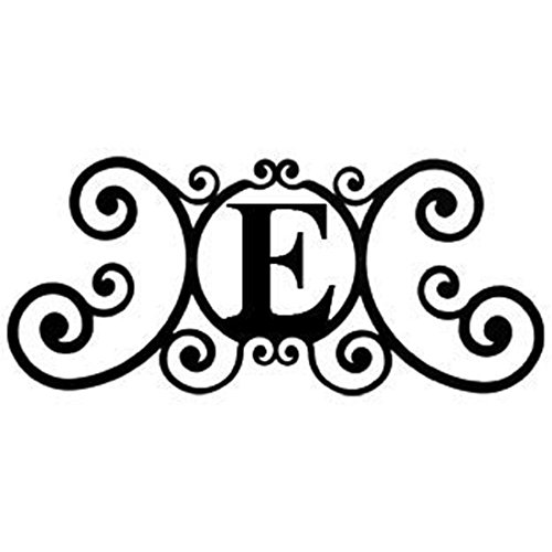 24 Inch House Plaque Letter - Wrought Iron Metal Scrolled Monogram Initial Letter Home Door Wall Hanging Art Decor Family Name Last Name Letter Sign (E, 24 x 11 inches,Thick 0.078 inch (2mm)) (2 Monogram)