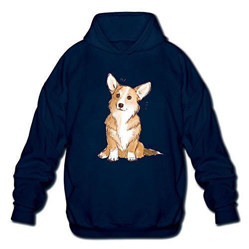 Price comparison product image Cute Corgi Dog Cartoon ArtMen's Long Sleeve Cotton Pullover Hoodie Sweatshirts