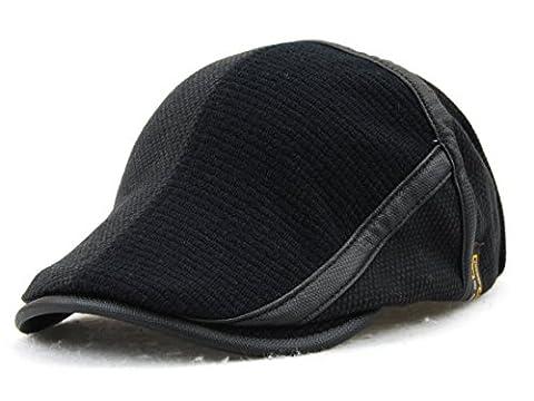 YCHY Men's Knitted Wool duckbill Hat Warm Newsboy Flat Scally Cap (dark01) - Striped Seersucker Cap