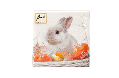 Ambiente Easter White Rabbit Cocktail/Beverage Napkins 25 x 25 cm/9.8 x 9.8 inches unfolded; 5 x 5 inches folded 3-ply 20-count pack White/Orange (22501545)
