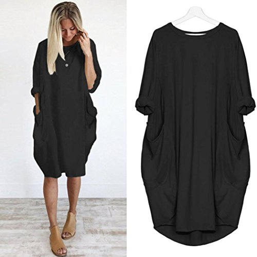 High Party Costume How (Iusun Women Long Sleeve Pocket Loose Dress Solid Casual Dress (L,)