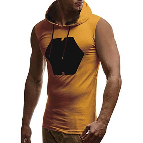 Benficial Men Hooded Striped Splicing Vest Jacket Patchwork Sleeveless Contrast Hoodie Yellow