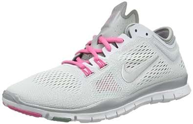 Nike Women's Free 5.0 TR Fit 4 White/Mtllc Slvr/Dffsd Jd/Pnk Training Shoe 6 Women US