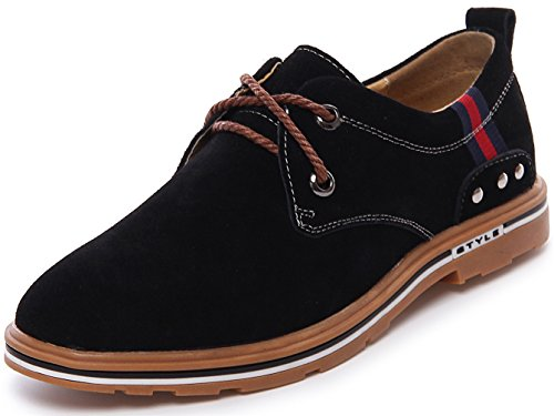 PPXID Mens Suede Leather Lace Up Casual Oxford Shoes Black pJF2M2ENX