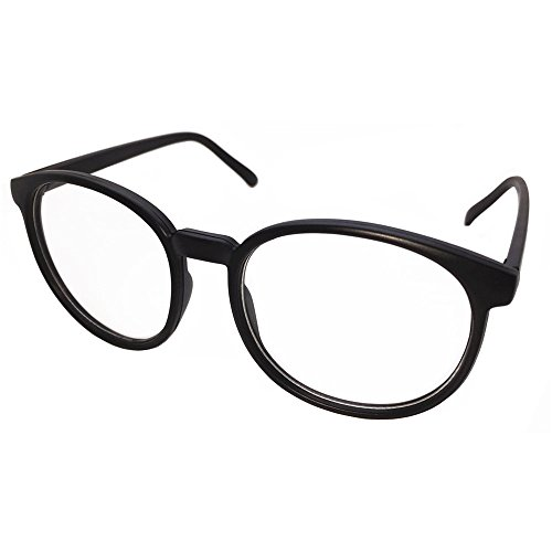 FancyG Retro Vintage Inspired Classic Nerd Round Clear Lens Glasses Eyewear - Black