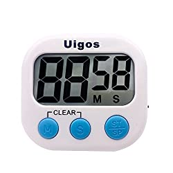 Uigos Digital Kitchen Timer II 2.0 , Big Digits, Loud Alarm, Magnetic Backing, Stand, for Cooking Baking Sports Games Office (White) (1 Pack)