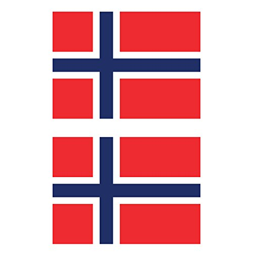 Two Pack Norwegian Flag Sticker FA Graphix Decal Self Adhesive Vinyl Norway NOR NO