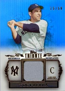Yogi Berra Card (2013 Topps Tribute Retired Relics Blue #RR-YB Yogi Berra Game Worn Jersey Baseball Card - Only 50 made!)