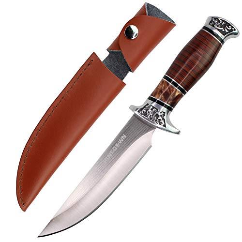 "HUNT-DOWN 12"" Dark Wood Handle Fixed Blade Hunting Knife with Bonus Sheath & Free Holt Multi Tool Key Chain"