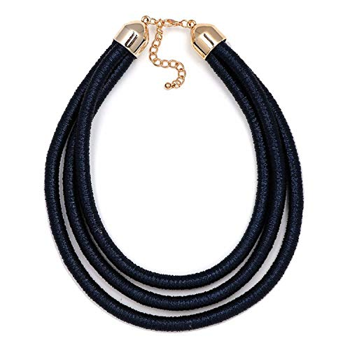 Flamingogogo 7 Colors Magnet Choker Necklace Multilayer Coiled Rope Chain Collar Necklace Maxi Jewelry,Blue ()