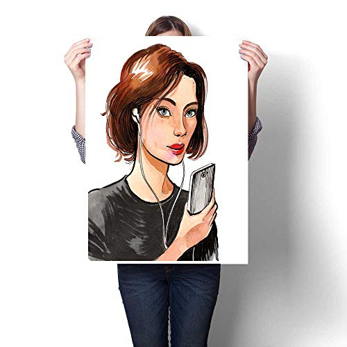 ting Sticker Pretty Girl with a Smart Phone Print On Canvas for Wall Decor 24