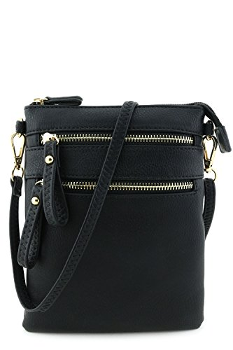 Closure Zipper Women - Multi Zipper Pocket Wristlet Crossbody Bag Black