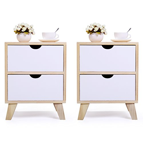 JAXPETY Set of 2 Bedside Table Solid Wood Legs Nightstand with White Storage Drawer (Wood Color & White)