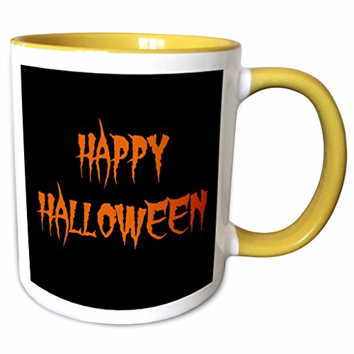 3dRose Xander holiday quotes - happy halloween orange spooky letters on black background - 15oz Two-Tone Yellow Mug (mug_200673_13)