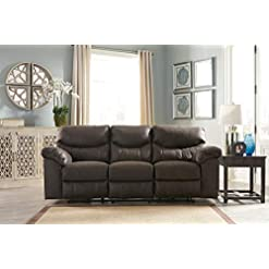 Farmhouse Living Room Furniture Signature Design by Ashley – Boxberg Contemporary Faux Leather Reclining Power Sofa, Dark Brown farmhouse sofas and couches