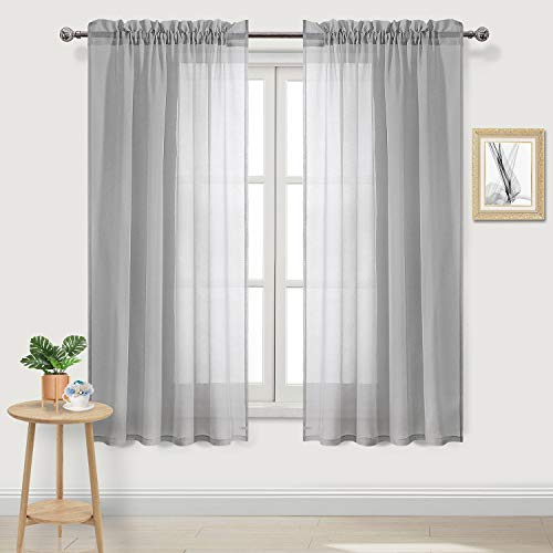 DWCN Grey Voile Sheer Curtains Faux Linen Rod Pocket Bedroom Curtains, Set of 2 Panels,Window Drapes 52 x 63 inch Length (Window Panels 63 Inch Length)