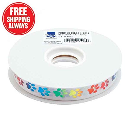 Top Performance Paws Printed Dog Grooming Ribbon, 50 yd, White