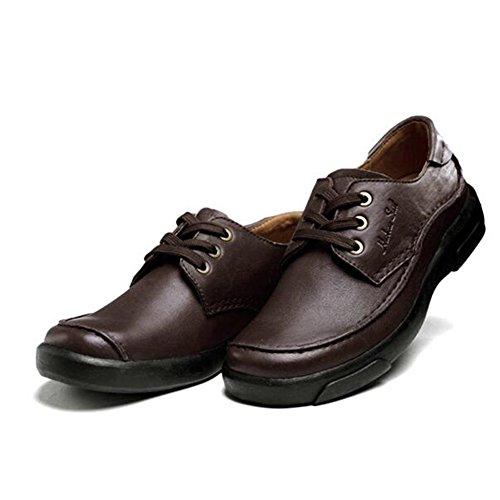 Mens Leder Freizeit Sehnen Schuhe Dress Herbst Business Hochzeit Mode Rutschen Schwarzbraun Braun