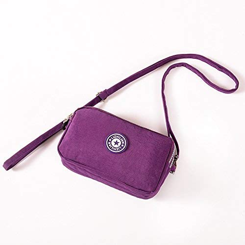 LanDream Lady Wallet Small Bag Satchel Bag Mobile Phone Bag Three Zipper Large Capacity Zero Wallet Mini Mobile Phone Bag Color : Deep Purple