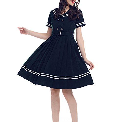 Lemail Women Navy Sailor Cocktail Dress 1950s Vintage Rockabilly Prom Dress M for $<!--$43.99-->
