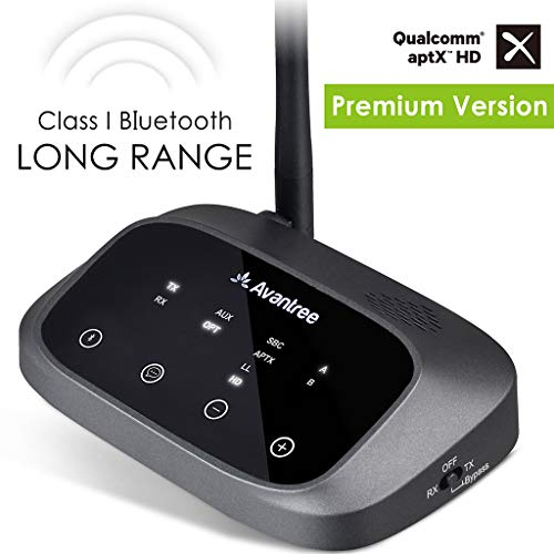 - [Premium Version]Avantree Oasis Plus aptX HD LONG RANGE Bluetooth Transmitter Receiver for TV Audio, Home Stereo, Toslink Optical, 3.5mm AUX RCA, Wired & Wireless Simultaneously, Dual Link Low Latency