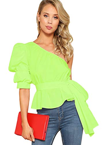 ROMWE Women's One Shoulder Short Puff Sleeve Self Belted Solid Blouse Top Neon Lime Small