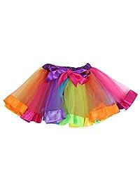 Boomerre Girls Rainbow Tutu Skirt Ballet Dance Dress Party Layered Skirt