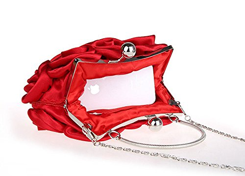 Bolso de embrague para mujer clutch Rot mit langer Kette