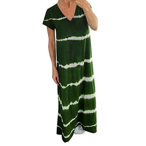(BODOAO Women Striped Short Sleeve V Neck Summer Long Maxi Dress Green)
